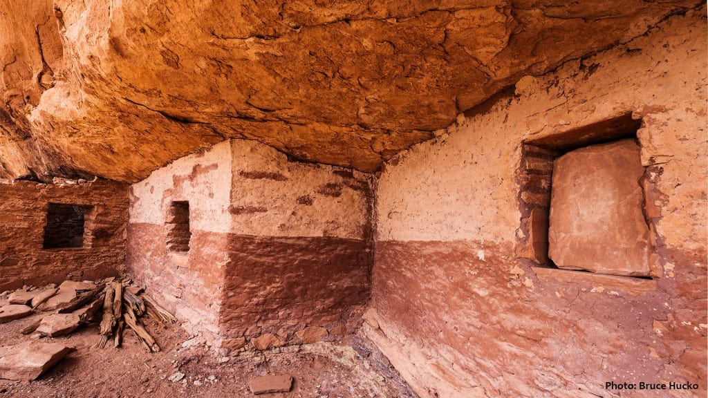 Fantastically preserved cliff dwelling on Cedar Mesa, with paint still on the walls after 800 years.