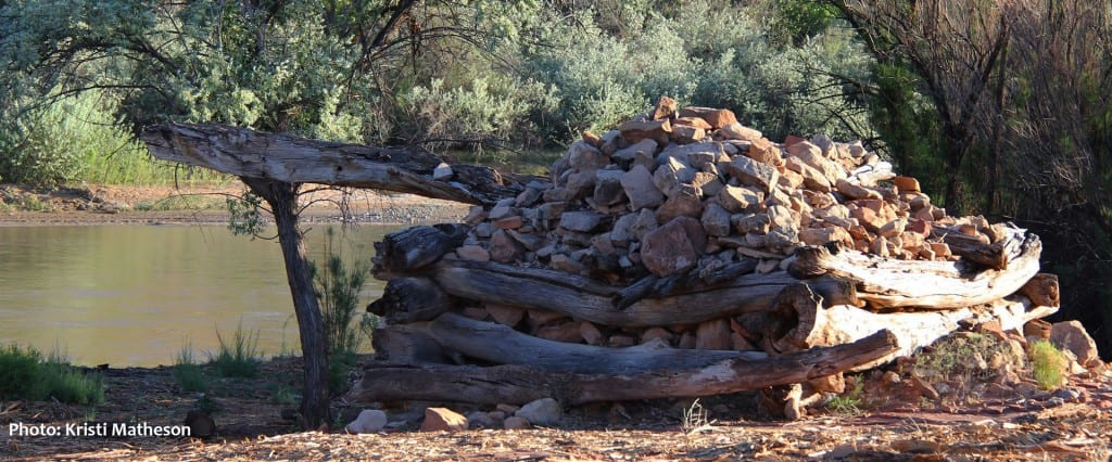 The remnants of a water wheel constructed near the San Juan River by pioneers settling the Bluff area.