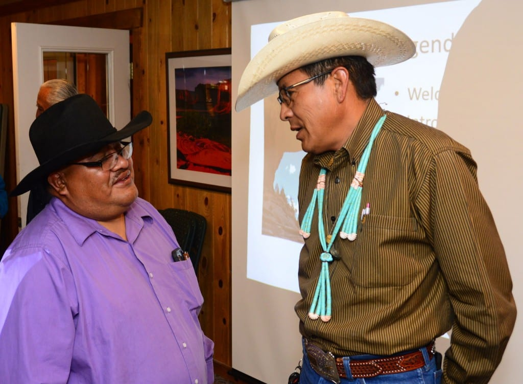 Malcolm Lehi, Ute Mountain Ute, and Kenneth Maryboy, Navajo, discuss the Bears Ears Friday, April 10, 2015 in Bluff, Utah.